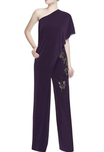 dark-purple-one-shoulder-jumpsuit