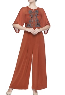 orange-jumpsuit-with-applique-work