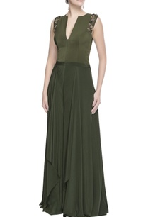 green-multi-layer-jumpsuit
