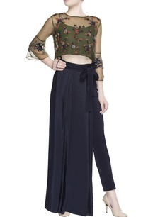 green-mesh-top-pleated-skirt