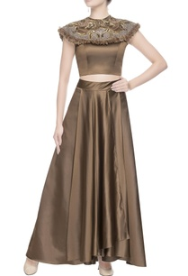 metallic-brown-embroidered-blouse-skirt
