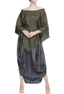 green-off-shoulder-blouse-skirt