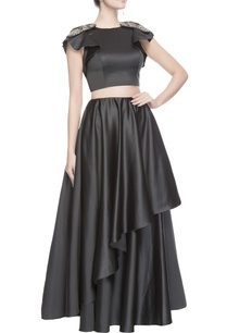 grey-embroidered-top-asymmetrical-skirt