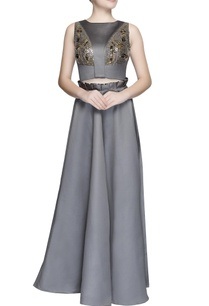 grey-embellished-top-and-skirt