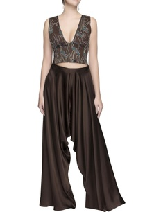dark-brown-embroidered-crop-top