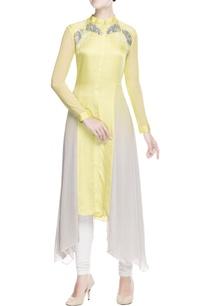 yellow-grey-sequin-embellished-tunic