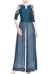 peacock-blue-embroidered-kurta-palazzo