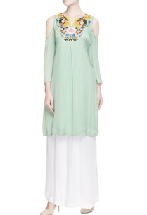 mint-green-cold-shoulder-kurta