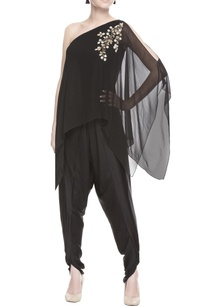 black-one-shoulder-kurta-dhoti-pants