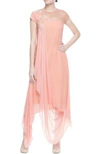 peach-draped-embroidered-kurta