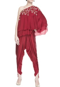 maroon-one-shoulder-kurta-dhoti-pants