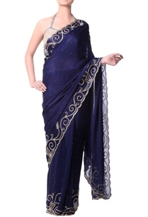 navy-blue-sari-with-gold-bugle-embroidery