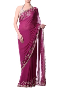 orchid-pink-sari-with-gold-bugle-embroidery