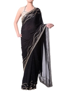 black-sari-with-gold-buged-embroidery