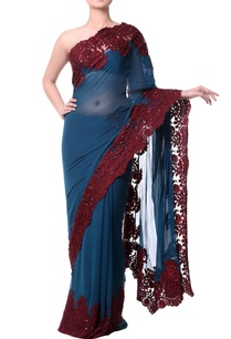 dark-teal-blue-sari-with-burgundy-chantilly-lace