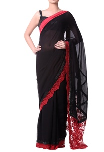 black-sari-with-white-chantilly-lace-border