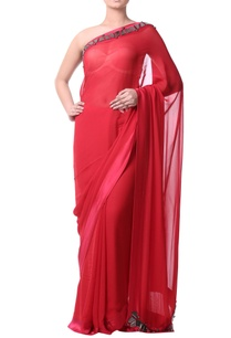 red-sari-with-charcoal-gray-stonework