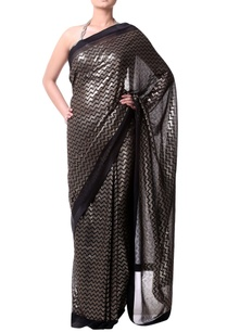 black-sari-with-black-gold-graphic-sheeting-pallu