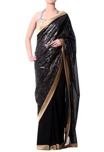 black-gold-border-sari