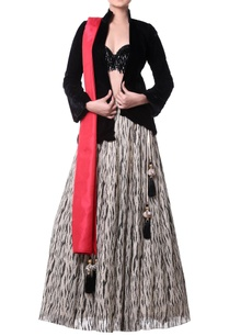 black-gold-lehenga-with-black-velvet-jacket