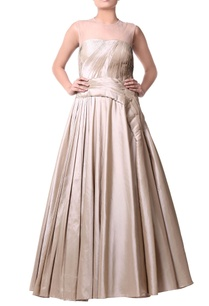 beige-pleated-taffeta-gown