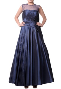 navy-blue-pleated-gown