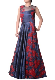 navy-blue-red-floral-pattern-gown