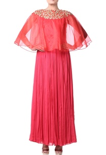 red-pleated-cape-dress