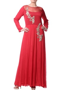 coral-pink-bugle-embroidery-gown