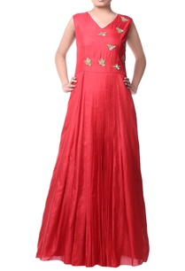 red-bird-motif-maxi-dress