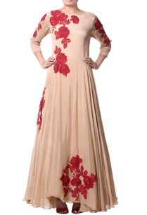 beige-floral-asymmetric-dress
