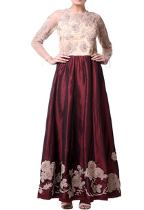 burgundy-brown-thread-embroidered-dress