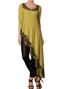 yellow-leaf-print-asymmetric-tunic