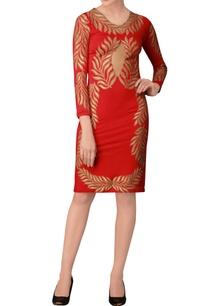 red-printed-midi-dress