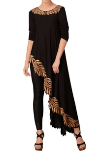 black-leaf-print-asymmetric-tunic