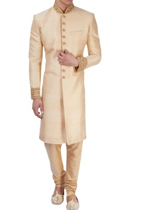 beige-sherwani-with-zari-embroidery