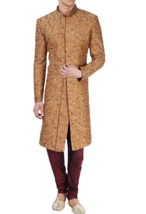 beige-sherwani-with-gold-zari-embroidery