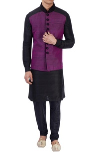 black-purple-nehru-jacket-set