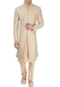 beige-sherwani-with-gold-zari-embroidery