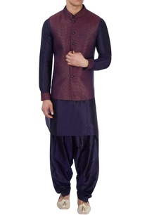 blue-kurta-multicolored-nehru-jacket