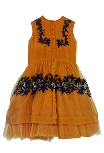 mustard-tulle-flared-dress
