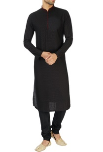 black-red-embroidered-kurta-set
