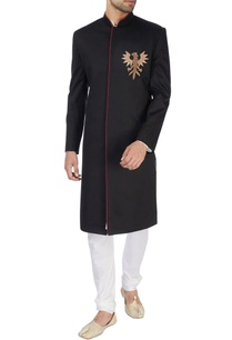 black-embroidered-sherwani-set
