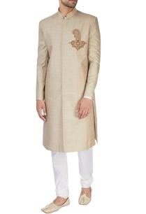 beige-printed-sherwani-set
