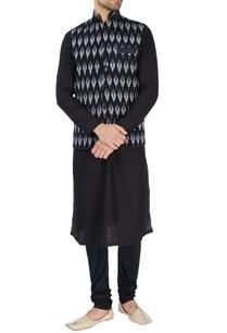 black-ikkat-print-nehru-jacket