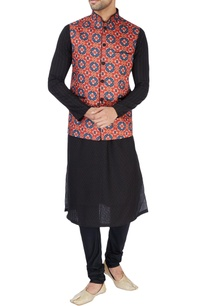red-ikkat-print-nehru-jacket