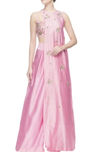 pink-mukaish-embroidered-kurta-set