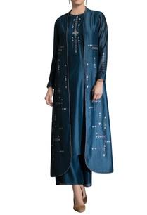 teal-blue-kurta-set-with-jacket