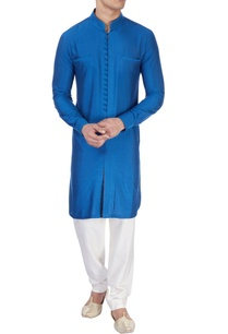 royal-blue-silk-kurta