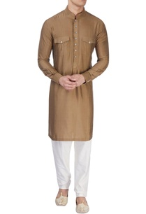 brown-silk-long-kurta